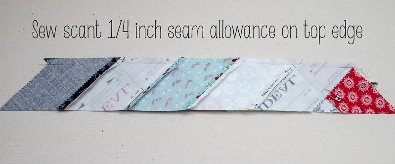"Sew Scant 1/4"" Seam allowance"